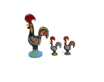 Vintage PORTUGUESE ROOSTER Set of 3 Hand Painted Cast Metal Black Cockerel Statues Red Hearts Good Luck Roosters Folk Art Made in Portugal