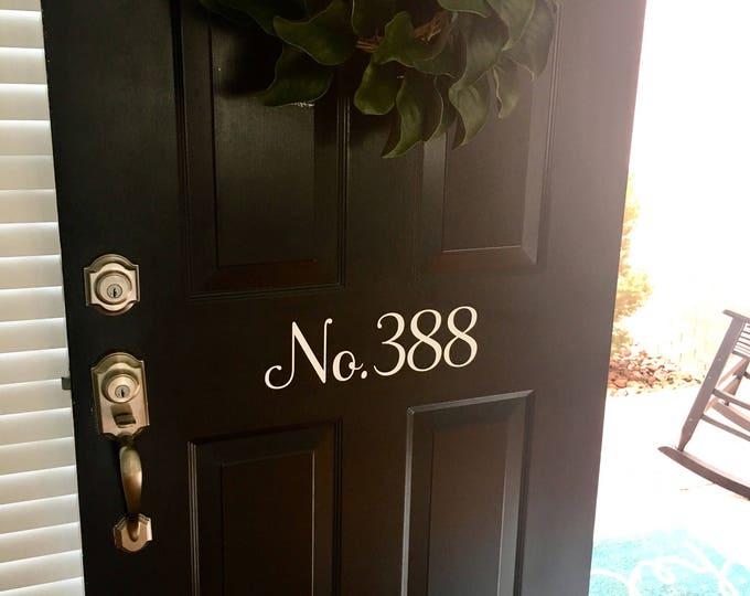Door Number Decal House Number Vinyl Decal Address Number Decal Door Decor Porch Decor Curb Appeal Vinyl Door Decal House Numbers Vinyl
