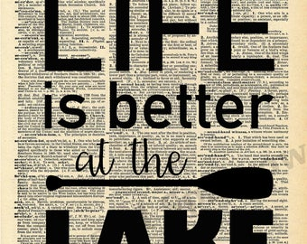 Life is Better at the LAKE - Vintage Dictionary Print