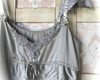 Silk Regency Style Dove Gray Cami Top Plus Size Large