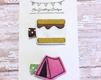 glamping clippies, glamping party favors, smores clippie, smores hair bow, baby hair clippie, camping bow, smores party, smores hair clips