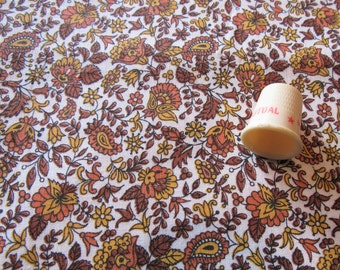 gold, orange and tan floral print vintage cotton fabric -- 36 wide by 1 yard plus