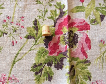 pink and red on cream floral print vintage cotton barkcloth
