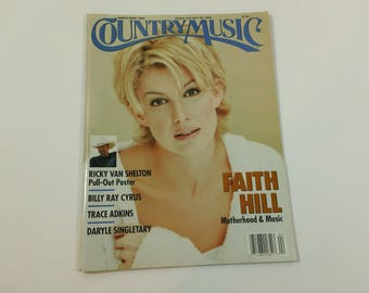 Country Music #190 (March/April 1998) - Faith Hill cover / Ricky Van Shelton poster ~ vintage 90s magazine back issue