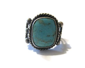Vintage Navajo Sterling Turquoise Ring Size 8