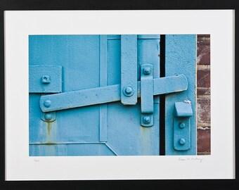Framed Print, Architectural Photograph, Ice House, Blue Wood Door, Framed Wall Art, Photo Art Print, Vintage Door, Home Decor, Office Decor