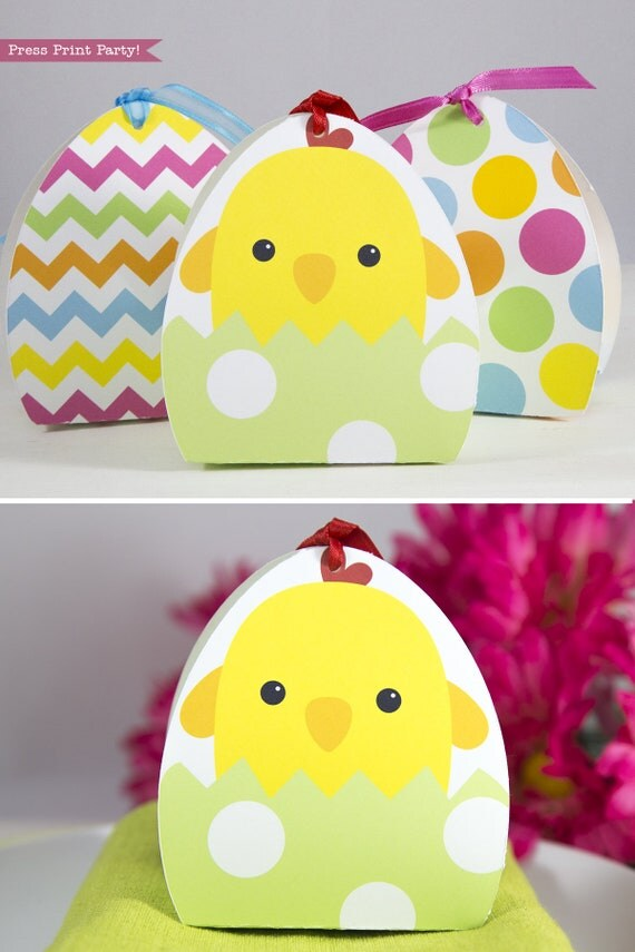 Easter basket treat boxes printable easter egg chick favor box il570xn negle Image collections