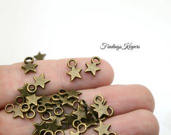 Star Charms, Bulk 60 Charms, Antique Bronze Tiny Star Charm 12 x 9 mm  bz329