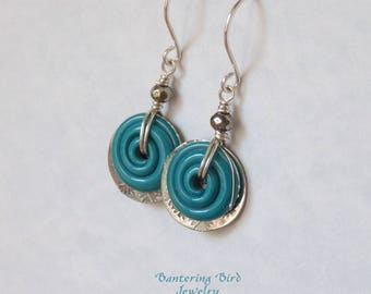 Blue Turquoise Lampwork Earrings, Glass Swirl with Textured Sterling Silver Charms and Pyrite, Sterling Silver Drop Earrings, Summer Jewelry