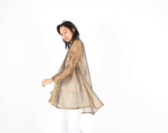 80s Holographic Duo Tone Metallic Gold Futuristic Slouchy Sheer Organza Swing Trench Coat Anorak Long Kimono Duster Jacket