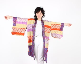 REVERSIBLE Silk Traditional Japanese Tie Dye + Floral Rainbow Pastel Huge Sweeping Sleeve Kimono Jacket / Robe / Duster