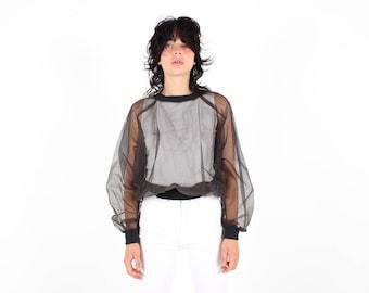 80s Structured Sheer Tulle Mesh Minimal Simple Black Long Sleeve Sporty / Athletic Sweatshirt Shirt / Top