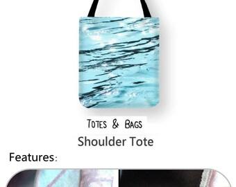 Water Ripples Tote Bag, Blue Ocean Shoulder Bag, Abstract Lake Photo Book Bag, Abstract water shopping Bag, Water Ripples Unique Beach Bag