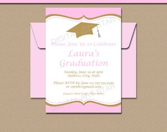 Pink Gold Graduation Invitation Template - Girl Graduation Party Invitations Instant Download - Printable 2018 Graduation Invitations G6