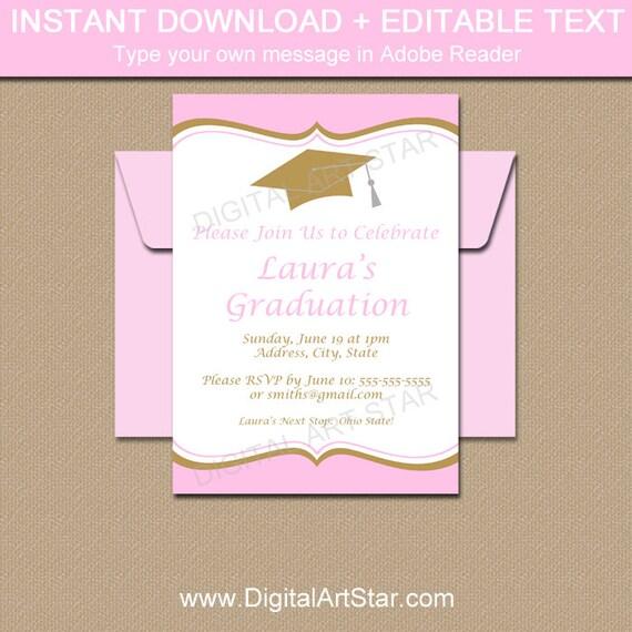 Pink gold graduation invitation template girl graduation party il570xn filmwisefo
