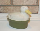 Carbon Covered Casserole Duck - Hall Pottery