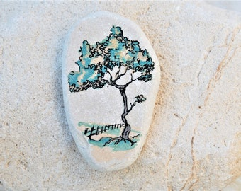 Handpainted beach stone Tree of life Painted Rocks/stones Office/Desk Decor Home decoration Gift for nature lovers Ink drawing original