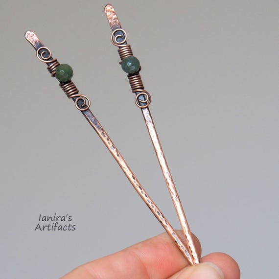 Antique Copper Sticks Set Hair pins Minimal hair jewelry Simple everyday hair accessories Hair holder - Solid copper - Indian Agate