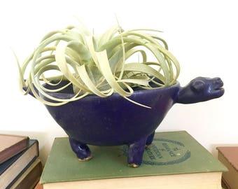 Vintage stoneware decorative bowl with legs, Turtle decorative bowl, Mexican Stoneware bowl