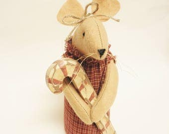 Primitive Candy Cane Mouse - Made To Order, Primitive Mouse, Christmas Mouse, Handmade Mouse, Mouse with Candy Cane