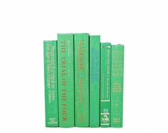 Emerald Green Books, Decorative Books, Ocean Old Book Set, Wedding Centerpiece, Book Decor, Book COllection, HOme interior design