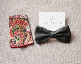 Men's Bow Tie Pre-tied Bow Tie For Men - Black Bow Tie Wedding Groom Bow Tie - Dot Dots Bow Tie Handmade Mens Gift Groomsmen Gifts