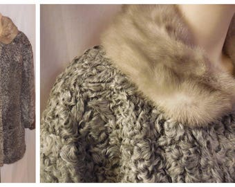 Vintage Fur Coat 1950s 60s Silver Gray Persian Lamb Mink Fur Coat Silver Mink Fur Collar Boho Fur Coat Elegant L chest to 43 in