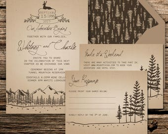 Adventure Wedding Invitation Suite {Forest or Mountain Theme}