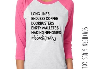 Black Friday List Shirt -  Black Friday Goals Raglan Tee - Black Friday Shopping Baseball Tshirt - Black Friday - Thanksgiving Shirt