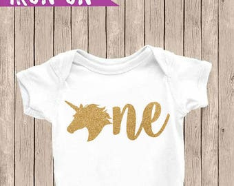 One Iron On Decal, One Birthday Onesie, Unicorn Birthday Outfit, DIY Birthday Shirt, Gold Glitter One