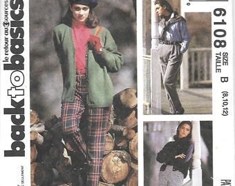 McCall's 6108 Misses Pants And Stirrup Pants Sewing Pattern, Size 8-10-12,   UNCUT