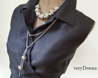 Two Piece Set, Lariat and Knot Necklace Duo, choose Silver or Gold Chunky Knot Necklace and Long Wrap, Silver Upcycled Jewelry veryDonna