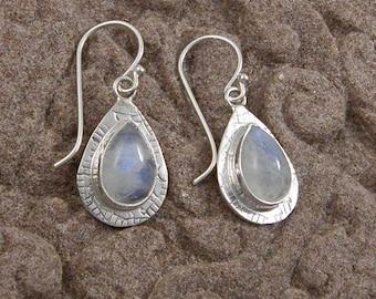 Rainbow Moonstone Teardrop Dangle Earrings, Textured Silver Rainbow Moonstone Drop Earrings