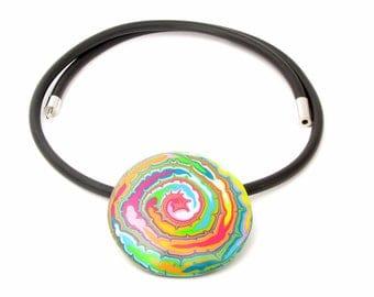 Halskette ART aus handgefertigten Polymer Clay,  handgefertigte Kette, großer Anhänger, Fimo
