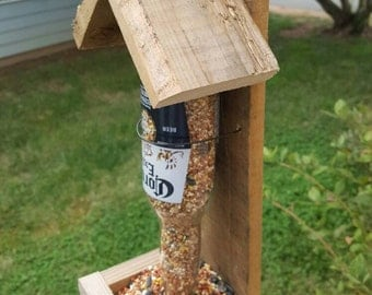 Rustic, reclaimed wood,  beer bottle bird feeder, pallet wood feeder
