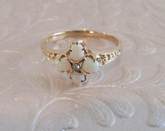 Opal Ring, Antique Opal Ring, Opal and Diamond Ring, October Birthstone Ring, October Birthstone, Birthstone Ring, Opal Jewelry, Opal