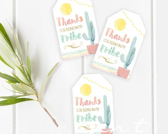 Cactus Favor Tags / Boho Chic Favor Tags / Cactus Party / Tribal Favor Tags