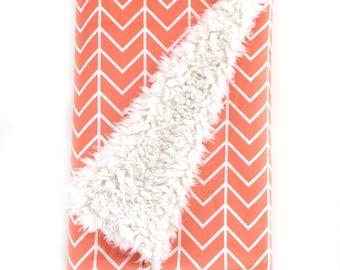 Baby Blanket Coral Chevron. The Cloud Blanket. Faux Fur Baby Blanket. Minky Baby Blanket. Coral Chevron Baby Blanket.