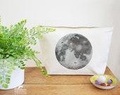 Moon Canvas Wash Bag, Large Zipper Pouch, Makeup Bag, Toiletry Bag, Accessory Bag