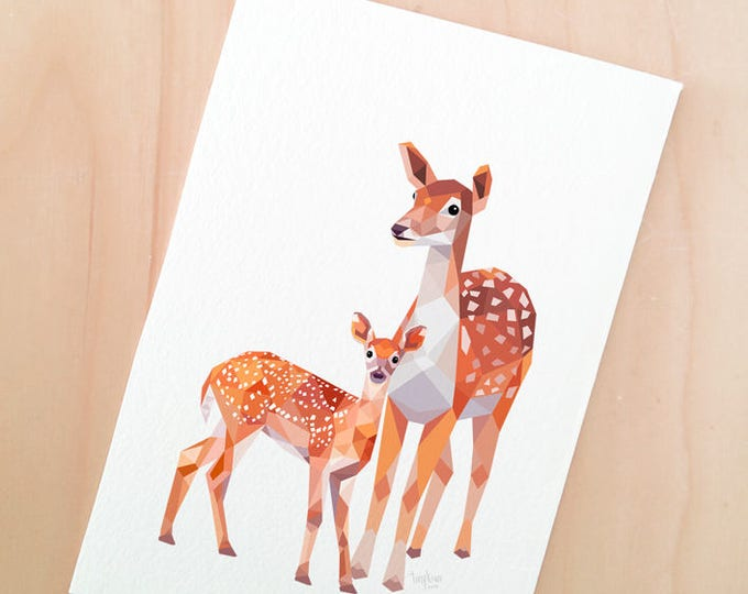 Deer mother baby print, New baby art, Mother animal, Deer illustration, Forest wildlife, Woodland family art, Nursery animals, Baby animal