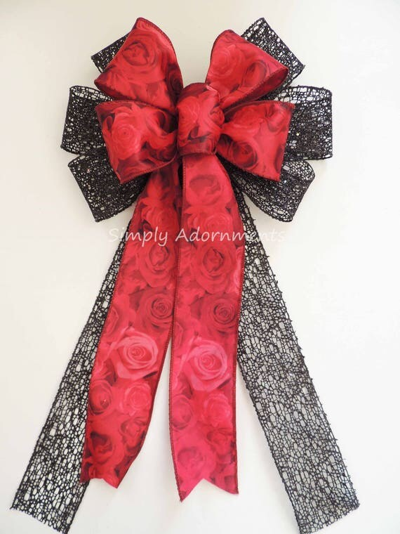 Red Black Rose Christmas Tree Bow Red black Christmas Wreath Bow Red Rose Black Net Wedding Ceremony  Wedding Pew Bows Red Black Chair Bow