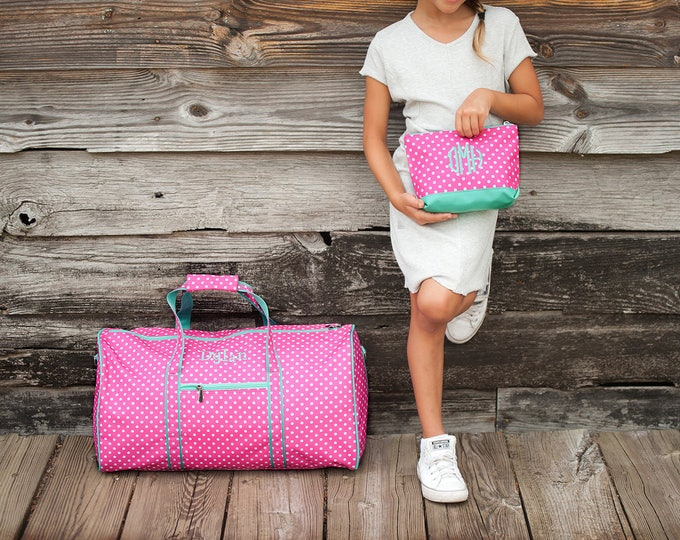 Monogrammed Duffle Bag, Girls Duffle Bag, Monogrammed Gifts for Girls and Boys, Personalized Duffle Bag, Pageant Bag, Dance Bag