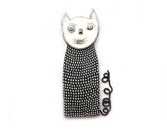 Black and White Cat Sculpture, Cat  wall sculpture, Cat Wall Art, black and white cat, cute cat, black cat, art cat sculpture