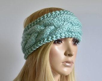 Knit Headband Head Wrap Ear Warmer Cable Knit Aqua Mermaid Winter