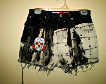 Destroyed Molted Studded Rocker High Waist Skull Shorts VINTAGE