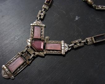 Vintage Necklace, Art Deco Purple Glass Necklace Silver Plate, Czech c. 1930, Antique Necklace, Deco Necklace, Czech Necklace