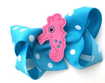 Seahorse hair bow - seahourse bow, summer hair bow, 4 inch bows, turquoise bows, boutique bows, girls hair bows, toddler bows, girls bows