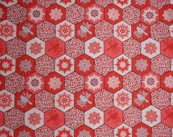 """Red Snow Flakes Fabric, Winter Gardens, Cardinal Christmas Fabric, Holiday Quilting Cotton, 44"""" Wide, by the half yard"""
