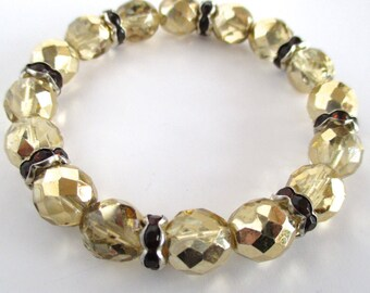 Gold Crystal Bracelet, Stretch Bracelet, Gift for Women, Gift for Her, Stacking Bracelet, Boho Bracelet, Bracelet Gift, Rhinestone Bracelet