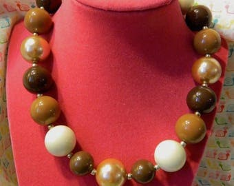 "14"" Brown Tan Fall  Girls Chunky Bubblegum Beaded Necklace"